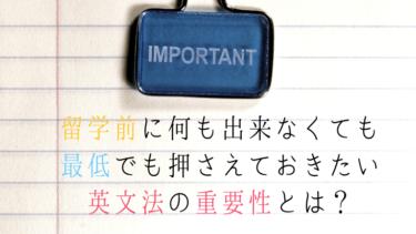 留学前に何も出来なくても最低でも押さえておきたい英文法の重要性とは?